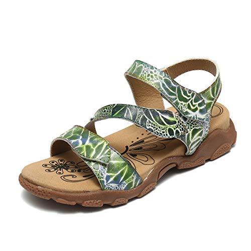 Gracosy Sandalias Planas Mujer Verano Zapatos Hook Loop Sandalias de Cuero con Plataforma...