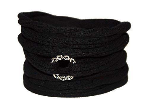Wickelarmband in schwarz mit Unendlichkeits-Ring - onesize