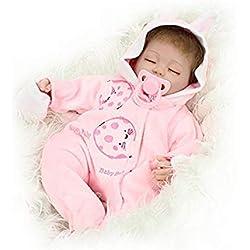 NPKDOLL Reborn Bébé Poupée en Vinyle Souple en Silicone Simulation 18inch 45cm magnétique Bouche Lifelike Mignon Lapin Jouet Enfants Rose avec Les Yeux fermés Baby Doll A1FR