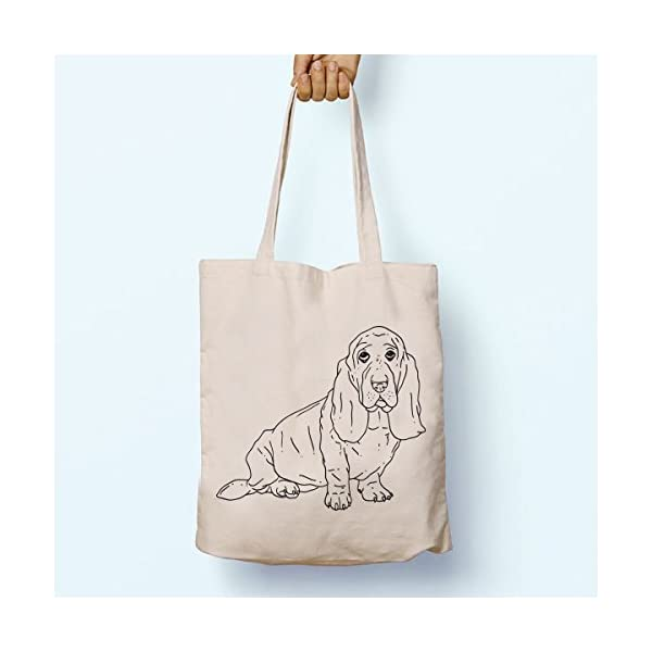 Basset Hound Dog, Illustrated, Shoulder, Tote, Long Handles, Graphic, Cute, Tumblr, Hipster, Beach, Gym, Festival, School, Bag - handmade-bags