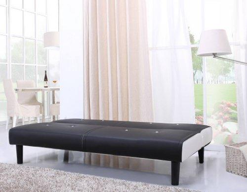 NEG Design Schlafsofa HELIOS (schwarz/weiß) mit Napalon-Leder-Bezug Klappsofa, 3-Sitzer, Liegefläche 179x108cm, sehr bequem - 5