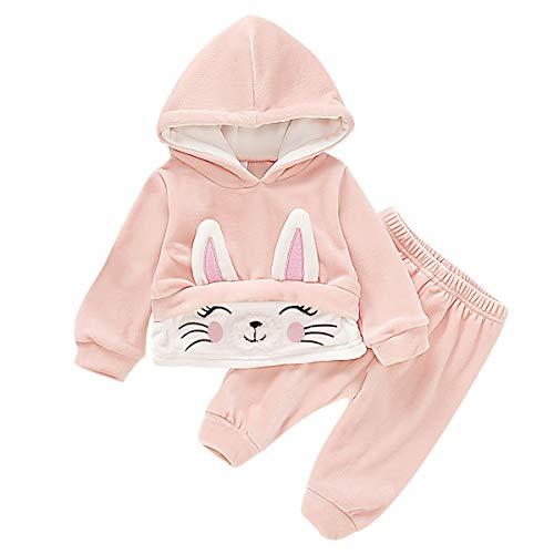 Chennie Kleinkind Baby Mädchen mit Kapuze Outfit Anzug Herbst Winter niedlichen Kaninchen Baumwolle Hoodies + Hosen für 0-18m