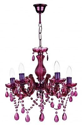 Fünf Arm violettes Glas und Acryl lüster - HP025255