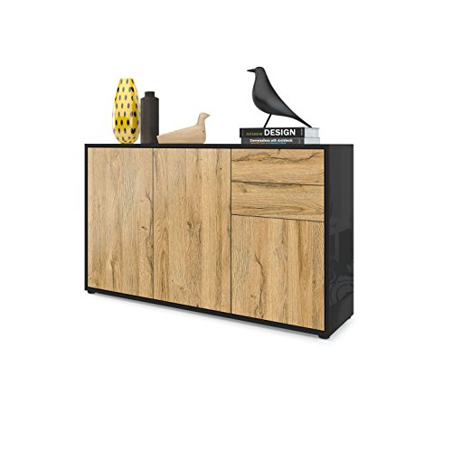 Vladon Kommode Sideboard Ben V3, Korpus in Schwarz Matt/Fronten in Eiche Nature