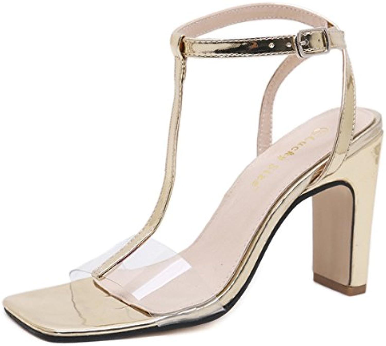 ZYQME Heel Damen Peep Toe Block T-Strap Damen High Heel ZYQME Knöchelriemen Sandalen Schuhe Größe 2d37b9