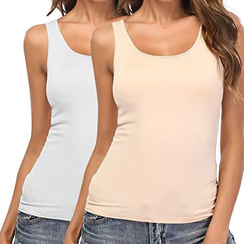 SLIMBELLE Damen BH-Hemd Unterhemd mit Unsichtbarer BH ohne Bügel Rundhals Basic Tank Tops 2er Pack Weiß Beige für Cup A-C L -