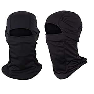 The Friendly Swede Face Mask Sports and Motorcycle Balaclava (2 Pack), Black and Black