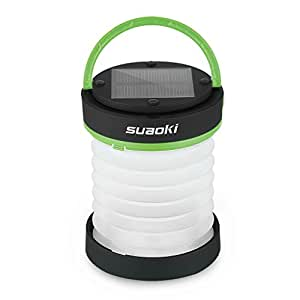 Suaoki Led 2-in-1 Lanterns for Home Patio Camping Lantern + Torch Lights Flashlight Built-in Rechargeable Battery Powered by USB Charger or Solar(Phone Emergency Power Bank, Water-Resistant, Green)