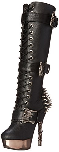 Demonia Damen MUERTO-2028 Kurzschaft Stiefel, Schwarz (Blk Vegan Leather/Pewter Chrome), 36 EU