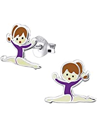 Sterling Silver Gymnastics Girl with Purple Leotard Earrings Gift