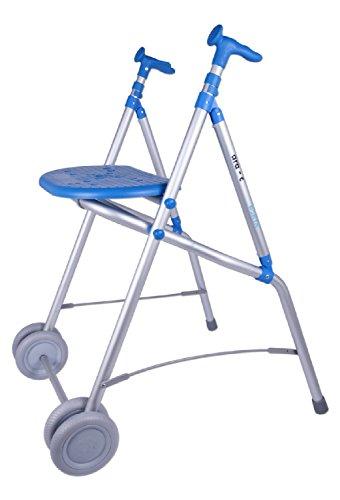 Andador caminador aluminio plegable asiento dos ruedas