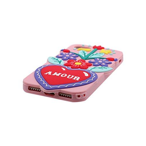 iPhone 6s Custodia, iPhone 6 / 6S Copertura, 3D Cartoon Case cactus Thorns / TPU flessibile morbido durevole Tutto il corpo di protezione di modo Cover / Graffi Resistenti Rosa