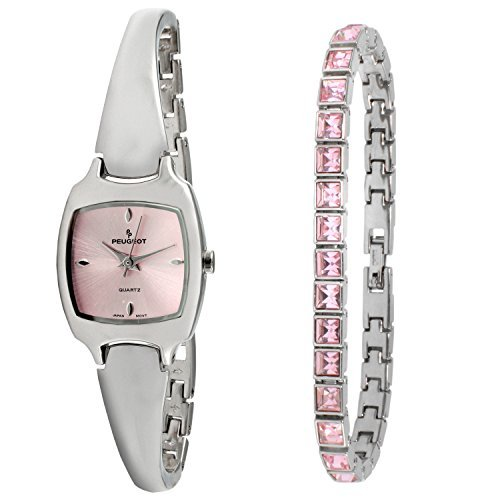 Peugeot Women Silver Watch & Crystal Tennis Bracelet Gift Set