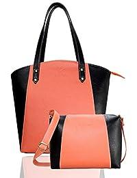 Fargo Motley PU Leather Women's & Girl's Shoulder Tote Handbag & Cross Body Side Sling Bag Combo (Peach,Black_FGO-082)
