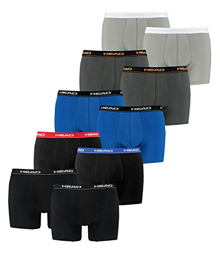 HEAD Herren Boxershorts 841001001 10er Pack, Wäschegröße:L;Artikel:1x2er Black / 1x2er Red/Blue/Black / 1x2er blue/black / 1x2er Dark Shadow / 1x2er Grey -