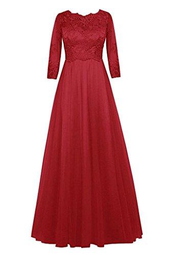 Topkleider Damen Elegant Rosa Rnd Spitze Tuell A-Linie Rock Abendkleider Lang Brautmutterkleider Partykleider 3/4 Arm-46-Dunkelrot