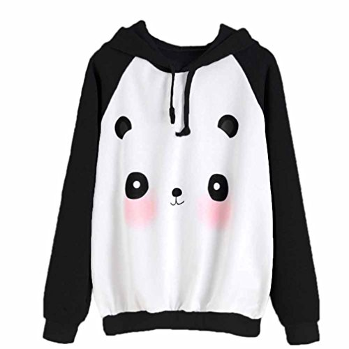 Lenfesh Kawaii Sudaderas con Capucha Mangas largas Mujer Chica,Animal Impresión Mujer Panda Encapuchado Suéter Tumblr Largas Ropa Deportiva (S, Negro)