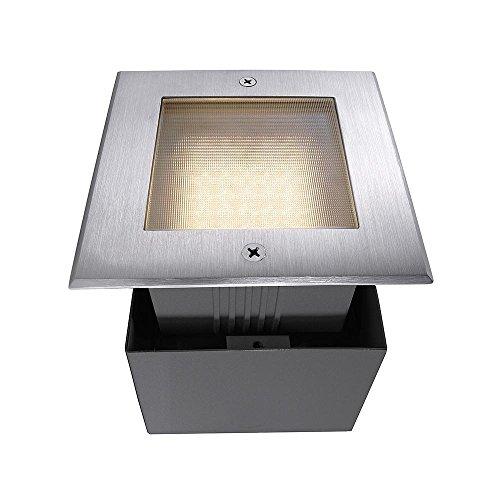 Spot extérieur encastrable de sol LED Square II carré asymétrique, AC 220–240 V/50–60 Hz, 2,2 W, acier inoxydable, 120 °, IP67, 3000 Classe d'efficacité énergétique : A +
