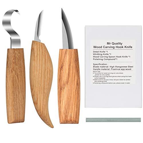 Coltello da Intaglio in Legno con Intaglio Strumenti Set Strumenti professionali per intagliare il legno 3 coltelli con manicotto per coltelli e pietra per affilare per la lavorazione del legno con