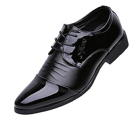 Anlarach Hommes Noir En Cuir Verni Fold Dress Pointé Toe Walking Derby Chaussures Noir 44 EU