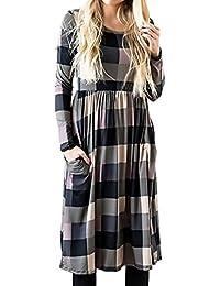 Vestiti Donna Eleganti Casual A Quadri Abiti Da Giorno Manica Lunga Rotondo  Chic Ragazza Collo Larghi 0fe0c85e68e