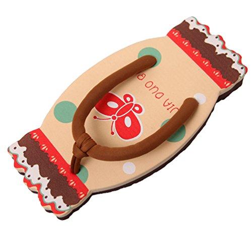 CHENGYANG Femme Bonbons Forme Tongs Plat Pantoufles Chaussure Cartoon Flip Flops Abricot