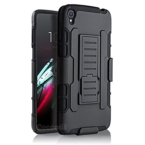 Alcatel OneTouch Idol 3 5.5in Coque, Cocomii Robot Armor NEW [Heavy Duty] Premium Belt Clip Holster Kickstand Shockproof Hard Bumper Shell [Military Defender] Full Body Dual Layer Rugged Cover Case Étui Housse (Black)