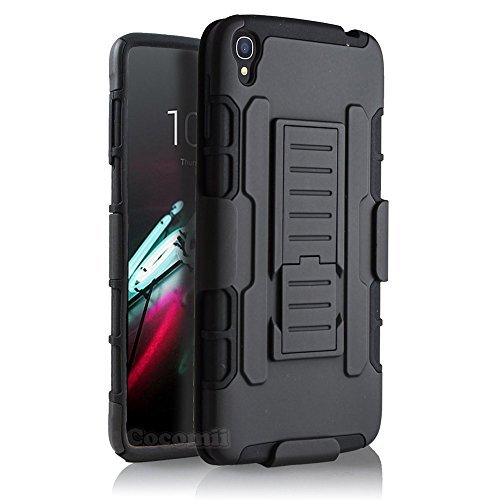 Alcatel OneTouch Idol 3 5.5in Hülle, Cocomii Robot Armor NEW [Heavy Duty] Premium Belt Clip Holster Kickstand Shockproof Hard Bumper Shell [Military Defender] Full Body Dual Layer Rugged Cover Case Schutzhülle (Black)