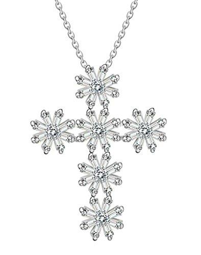 Aooaz Schmuck Damen Halskette,Silber Vergoldet Kette mit Anhänger CZ Zirkonia Hohl Schneeflocke Kreuz Kristall Anhänger Halskette für Damen (Kostüme Russell Jack)