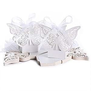 20pcs Boîte à dragées bonbons Grand Papillon pour Mariage Baptême