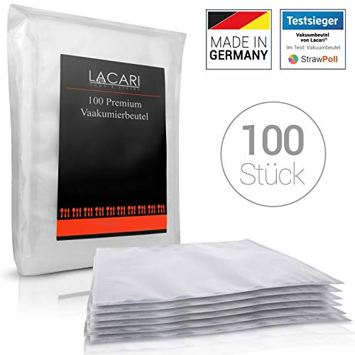 TESTSIEGER: SEHR GUT - Lacari ® [100x] Vakuumbeutel - [20x30 cm] - Perfekt zum Sous Vide Garen geeignet - Vakuumierbeutel für alle Folienschweißgeräte