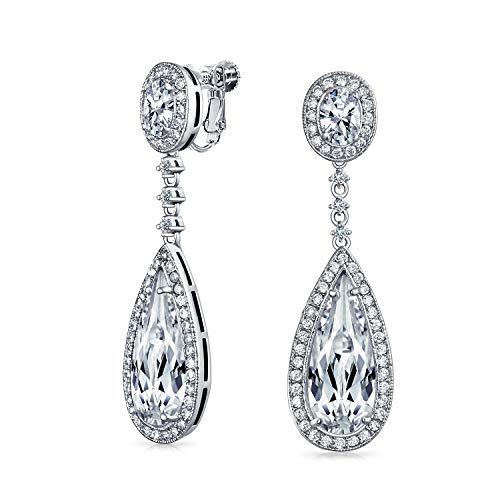 Braut Lange Träne Baumeln CZ Erklärung Schraube KlaMMer Auf Ohrclips Ohrringe Für Damen Silber Platte Messing