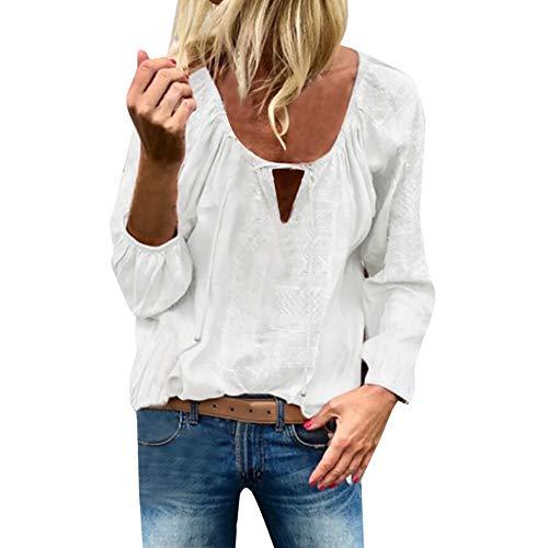 LOPILY Stickereie Bluse Damen Elegante Quasten Oberteile mit Kordelzug Hippie Tunika O-Neck Sexy Spitzen Tops für Hochzeitsgast Laternenärmel Oberteile Damen Langarm Bluse Herbst (Weiß, 38) -