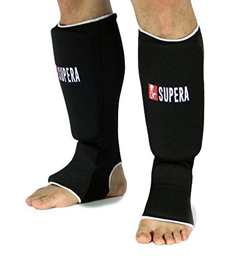 Supera Schienbeinschoner für Kampfsport – Schienbeinschützer mit Spannschutz – Mit extra Dicker Polsterung für Harte Kicks! Fußschutz für Kampfsport Kickboxen MMA, Muay Thai.