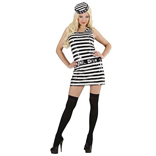 Widmann 94771 - Erwachsene Kostüm Häftling, Kleid und Mütze, (Häftling Ideen Kostüm)