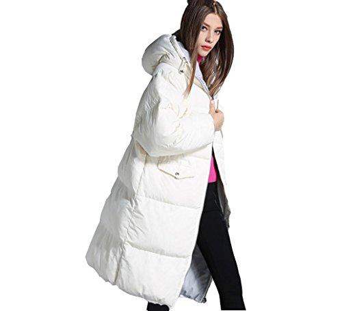SHISHANG Europa und Winter High-End-Frauen weiße Ente Daunenjacke Mädchen langen Abschnitt dicker warmweiß mit Kapuze , xl