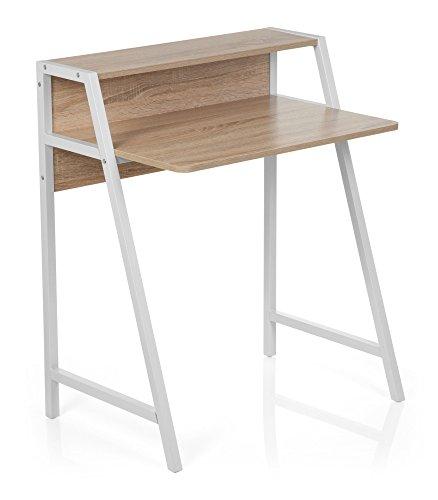 hjh OFFICE 634720 Schreibtisch Dumont Holz Eiche/Weiß Computertisch Klein mit Stauraum