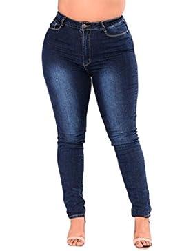 OHQ Pantalones Vaqueros EláSticos Delgados De Las Mujeres Grandes Azul Pantalones De Cintura Alta De Mezclilla...