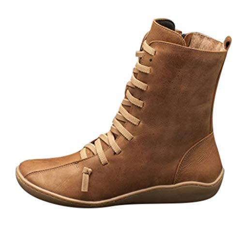 Luckycat Botines de Cuero Otoño Vintage con Cordones Zapatos de Mujer Botas cómodas de tacón Plano...
