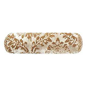 Elegant Floral Velvet Khaki Decorative Bolster Pillow Cover