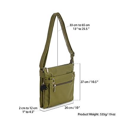 Multi Pocket Messenger Crossbody Shoulder Small Size Handbag - with Branded Protective Storage Bag and Charm - Black