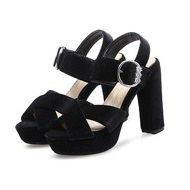 LvYuan Da donna-Sandali-Ufficio e lavoro Formale Serata e festa-Club Shoes-Quadrato-Felpato-Nero Giallo Verde Borgogna Black
