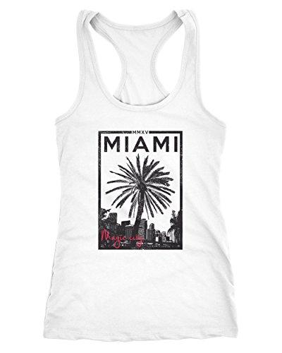 Neverless Damen Tank-Top Miami Beach Sunset Palmen Racerback Trägershirt Weiß M