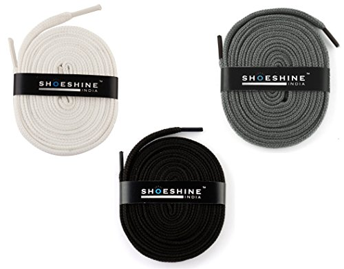 Shoeshine India Flat Shoe Laces Set Of Black White Grey Shoe Laces - 3 Pair Set