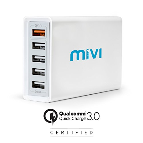 Mivi Desktop USB Charging Station HUB: [ Qualcomm® Quick Charge™3.0 certified] 5 port 8A USB Turbo charging adapter with fast charging and turbo charging compatible with all mobiles, tablets and more (Silver)