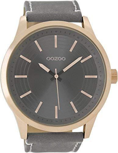 Oozoo Reloj de Hombre con Piel de Banda 50Mm Rose/Plata Gris/Gris c9078