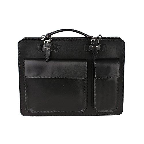 Unisex Aktentasche, Business Handtasche mit Schulterriemen aus echtem Leder Made in Italy Chicca Borse 38x29x11 Cm Schwarz