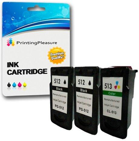 3 Compatibili Canon PG-512 CL-513 Cartucce d'inchiostro per Pixma iP2700 iP2702 MP230 MP235 MP240 MP250 MP252 MP260 MP270 MP272 MP280 MP282 MP480 MP490 MP492 MP495 MP499 MX320 MX330 MX340 MX350 MX360 MX410 MX420 - Nero/Colore, Alta Capacità