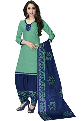 Ishin Synthetic Green & Blue Printed Unstitched Salwar Suit Dress Material (Anarkali/Patiyala)...