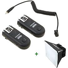 Yongnuo RF 603 II /C3 (version II) sans fil déclencheurs 2.4GHz pour flash avec câble pour Canon 10D/20D/30D/40D/50D/1D/1D Mark II/1D Mark III/1D Mark IV/1Ds/1Ds Mark II/1Ds Mark III/5D/5D Mark II/5D Mark III/1DX/6D/7D avec Diffuseur Softbox